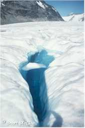 A water filled crevasse